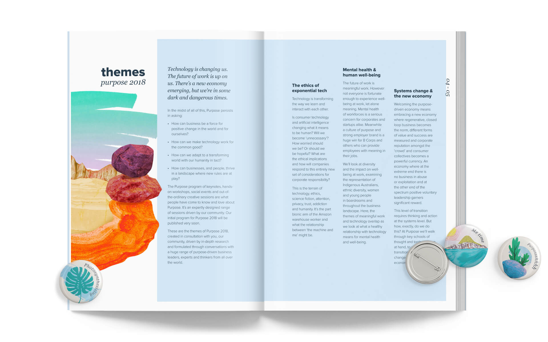 Purpose 2018 program themes pages design and buttons