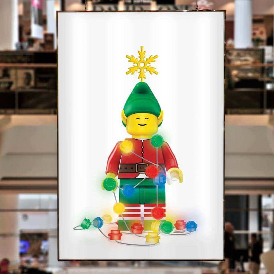 LEGO Christmas campaign, huge animated digital signage in Westfield.