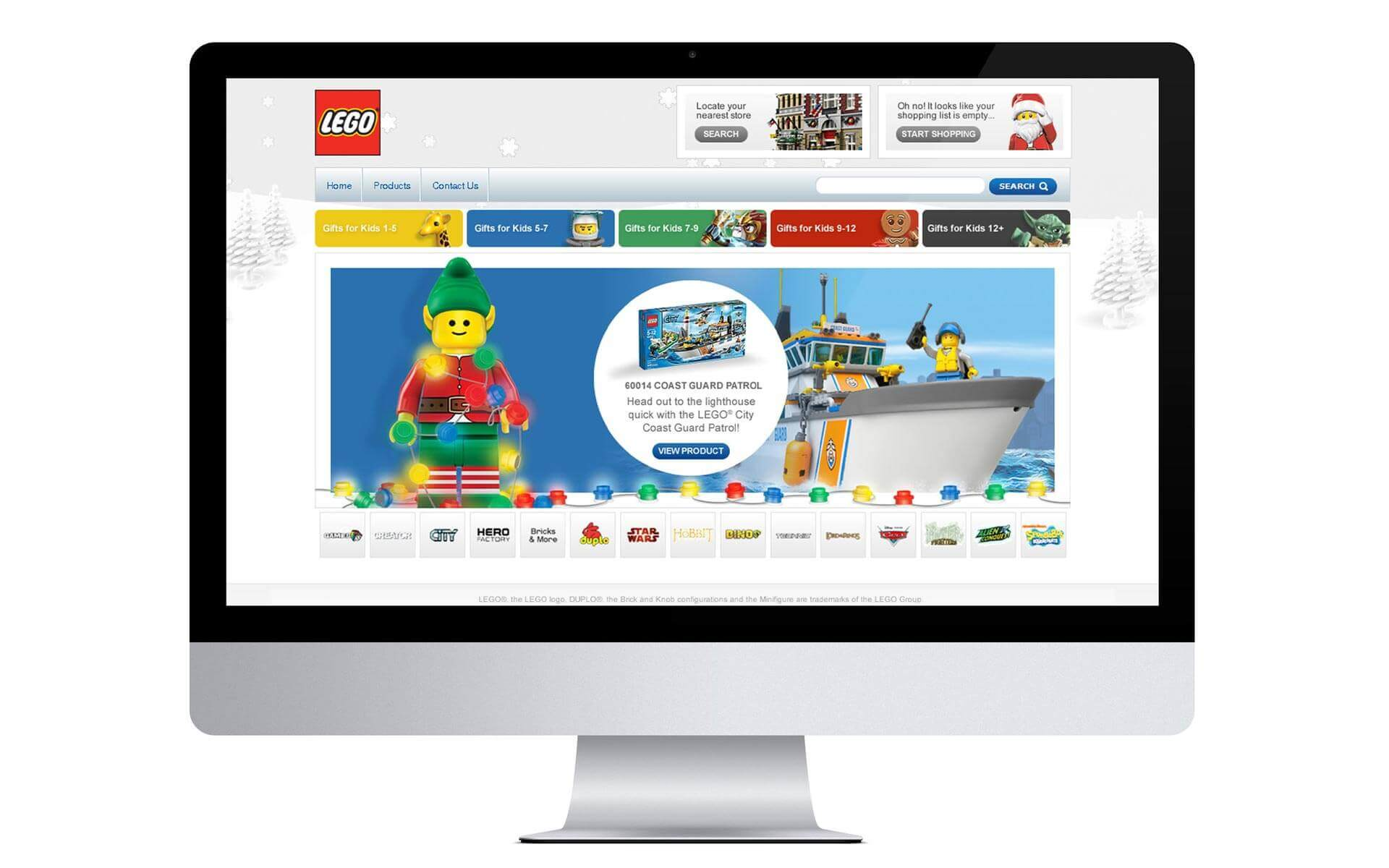 LEGO Christmas campaign, promotional website design.