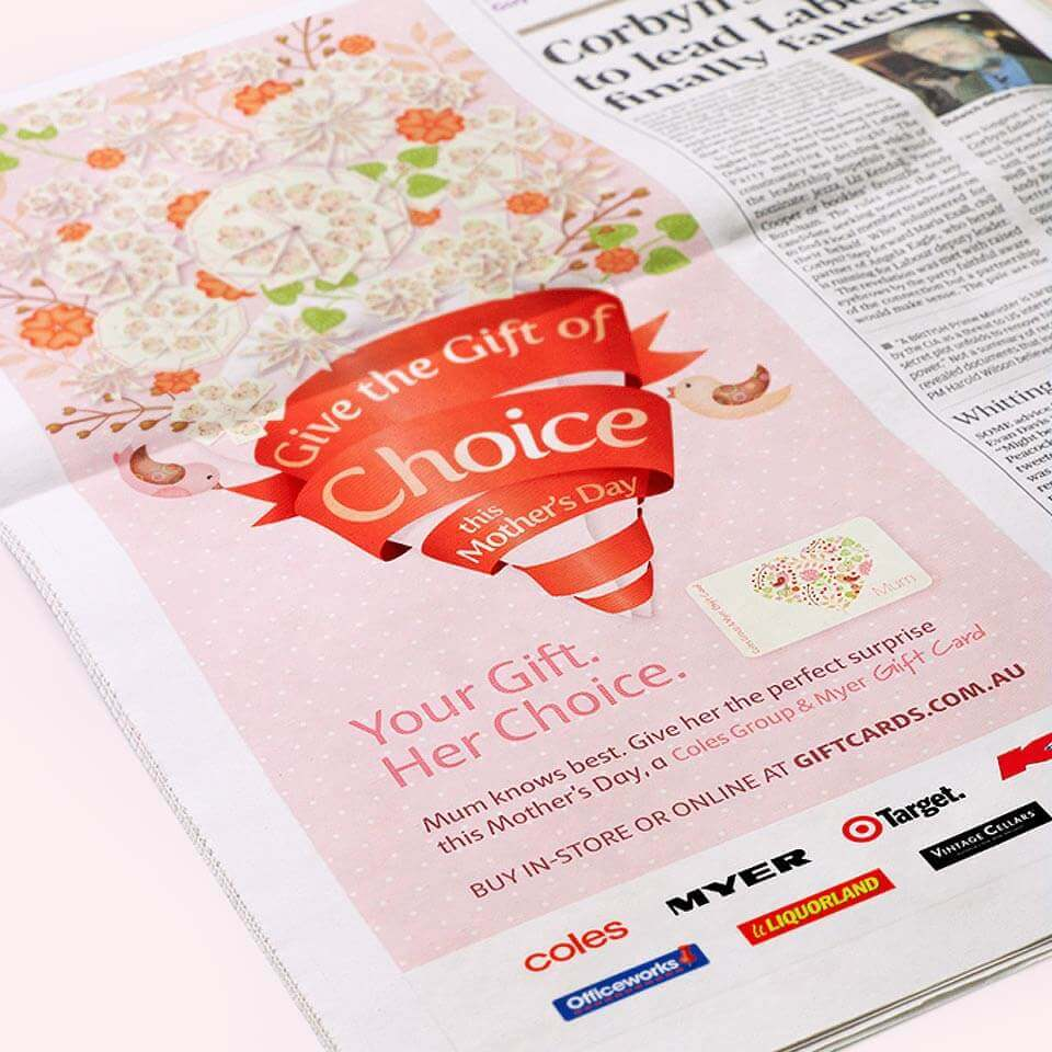 'Give the Gift of Choice' Coles Mothers Day Gift Card newspaper ad.