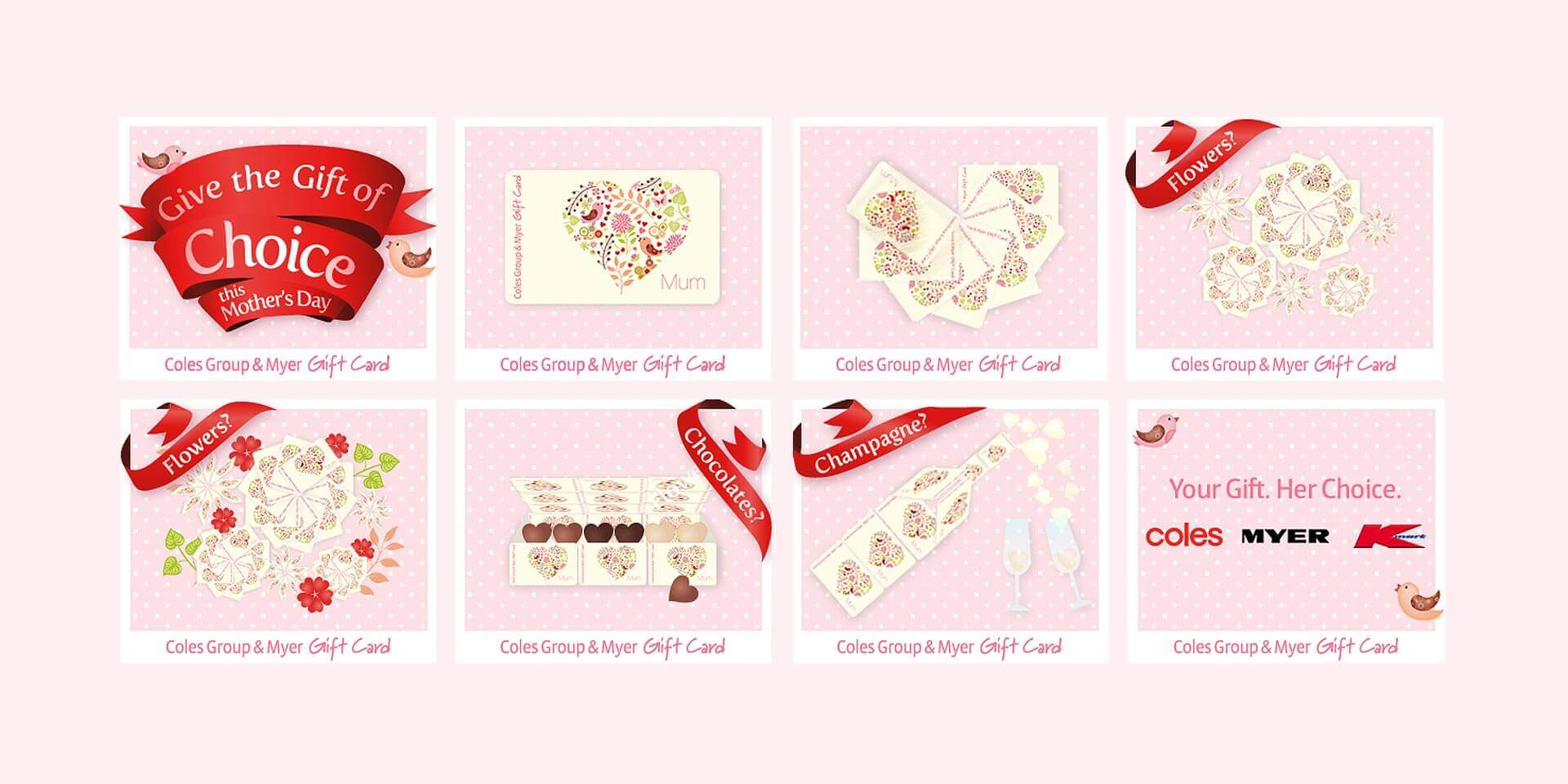 'Give the Gift of Choice' Coles Mothers Day Gift Card Mrec digital ad storyboard.