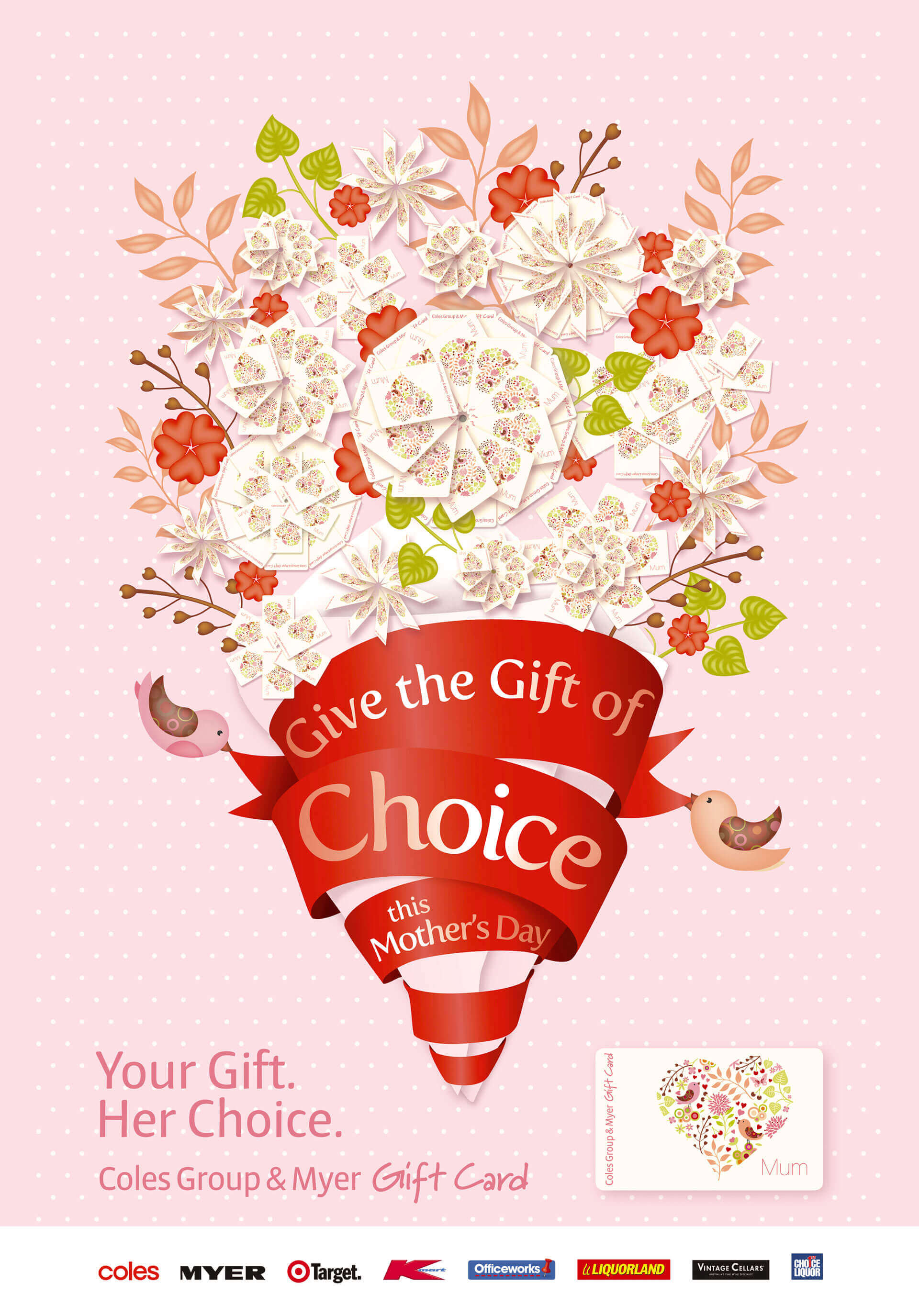 'Give the Gift of Choice' Coles Mothers Day Gift Card print ad artwork.