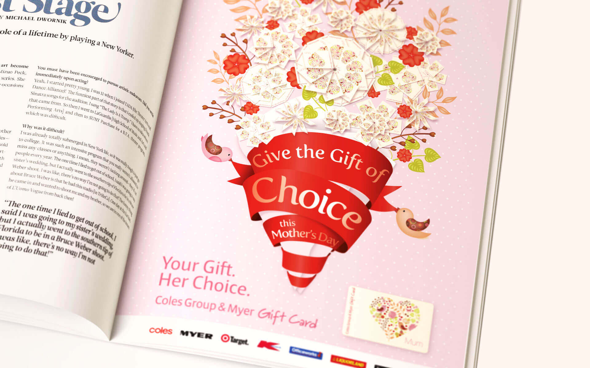 'Give the Gift of Choice' Coles Mothers Day Gift Card magazine ad.