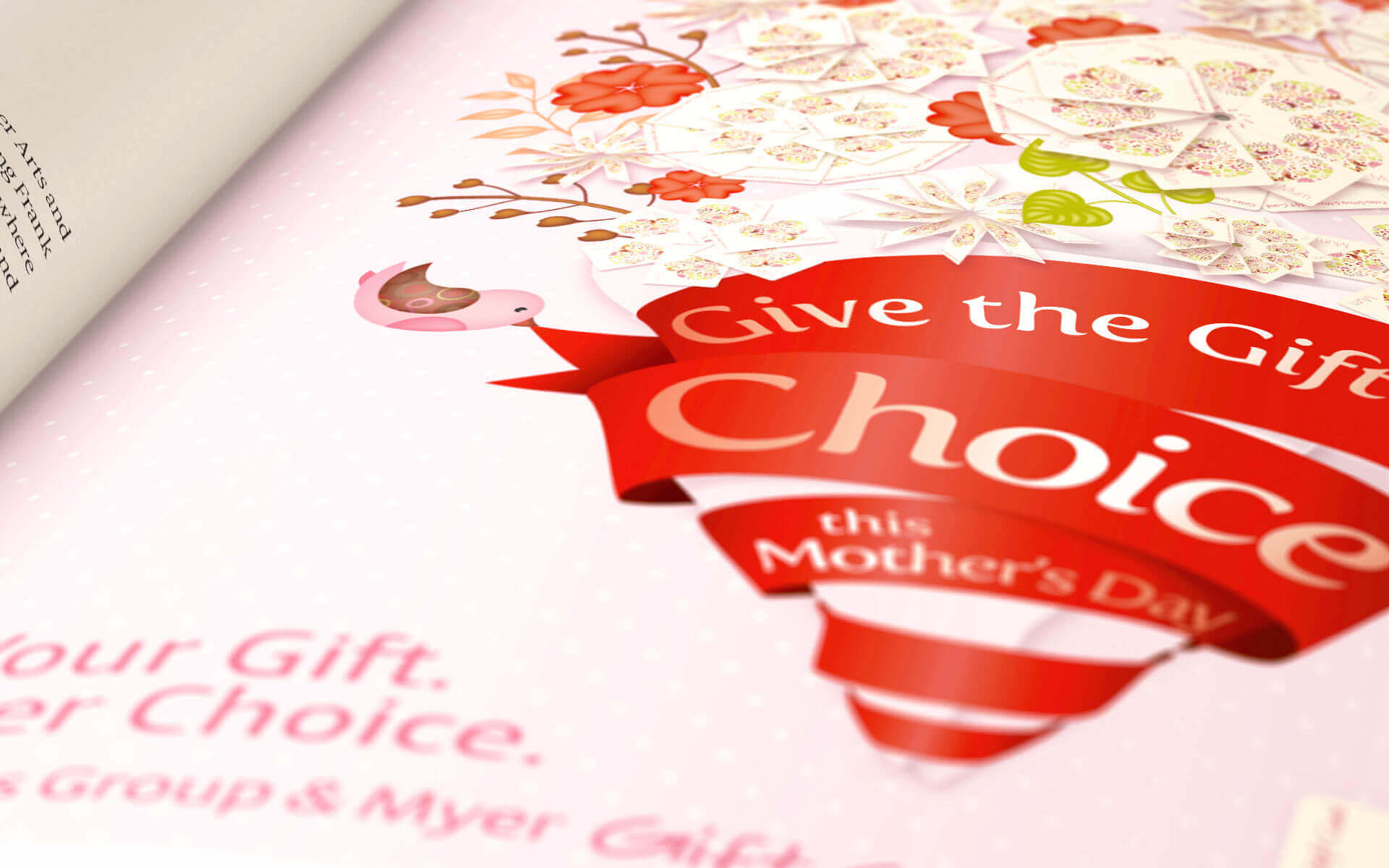 'Give the Gift of Choice' Coles Mothers Day Gift Card close up detail of print ad.