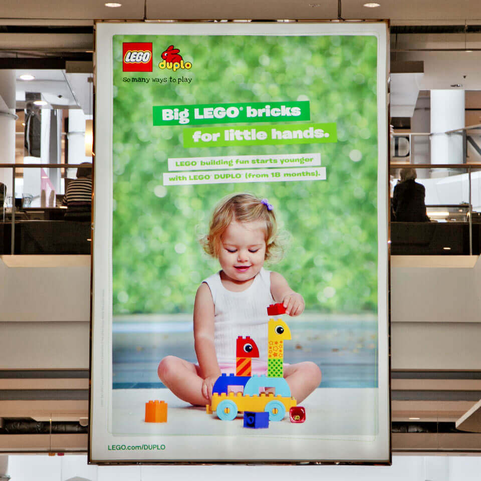 LEGO Duplo 'Big LEGO Bricks for Little Hands' large digital display at Westfield shopping centre.