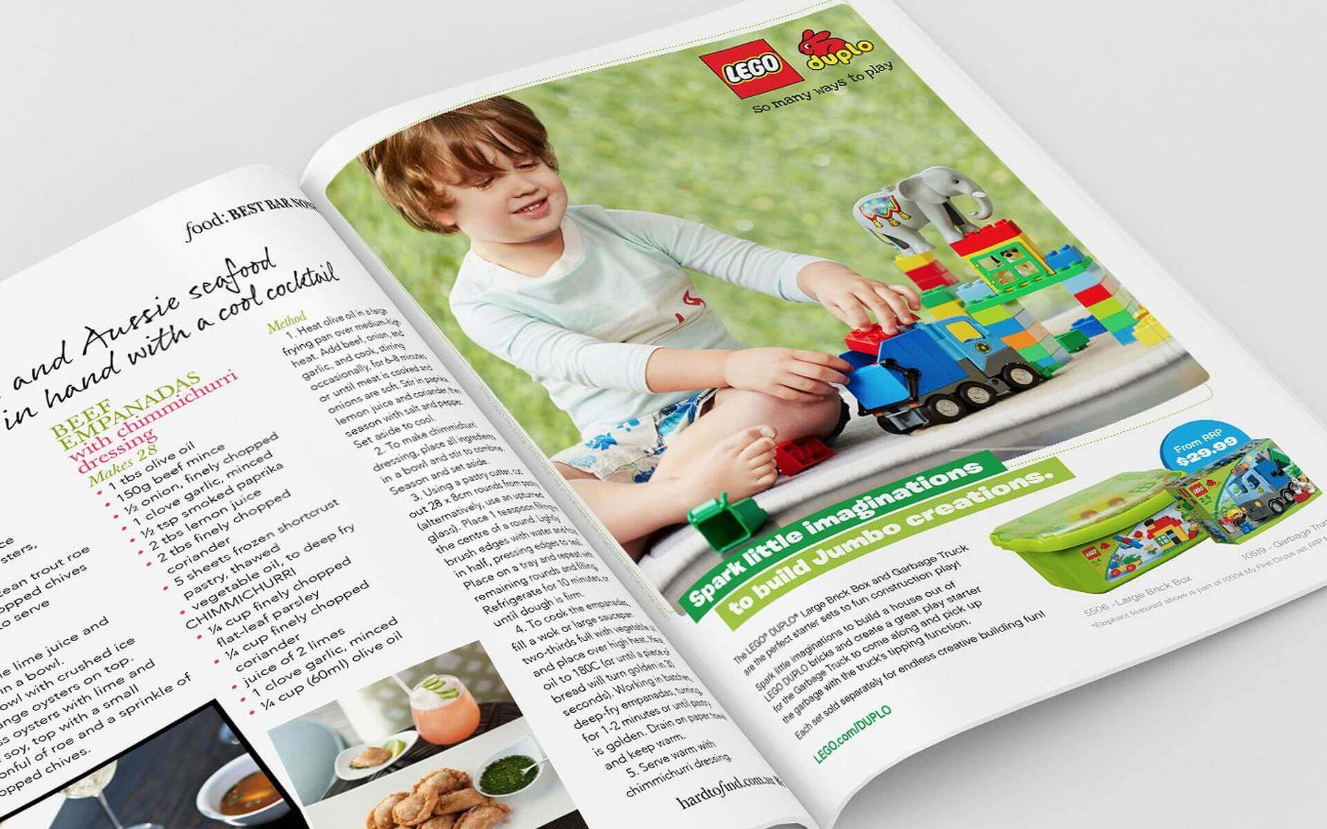 LEGO Duplo 'Spark Little Imaginations, to Build Big Creations' magazine ad.