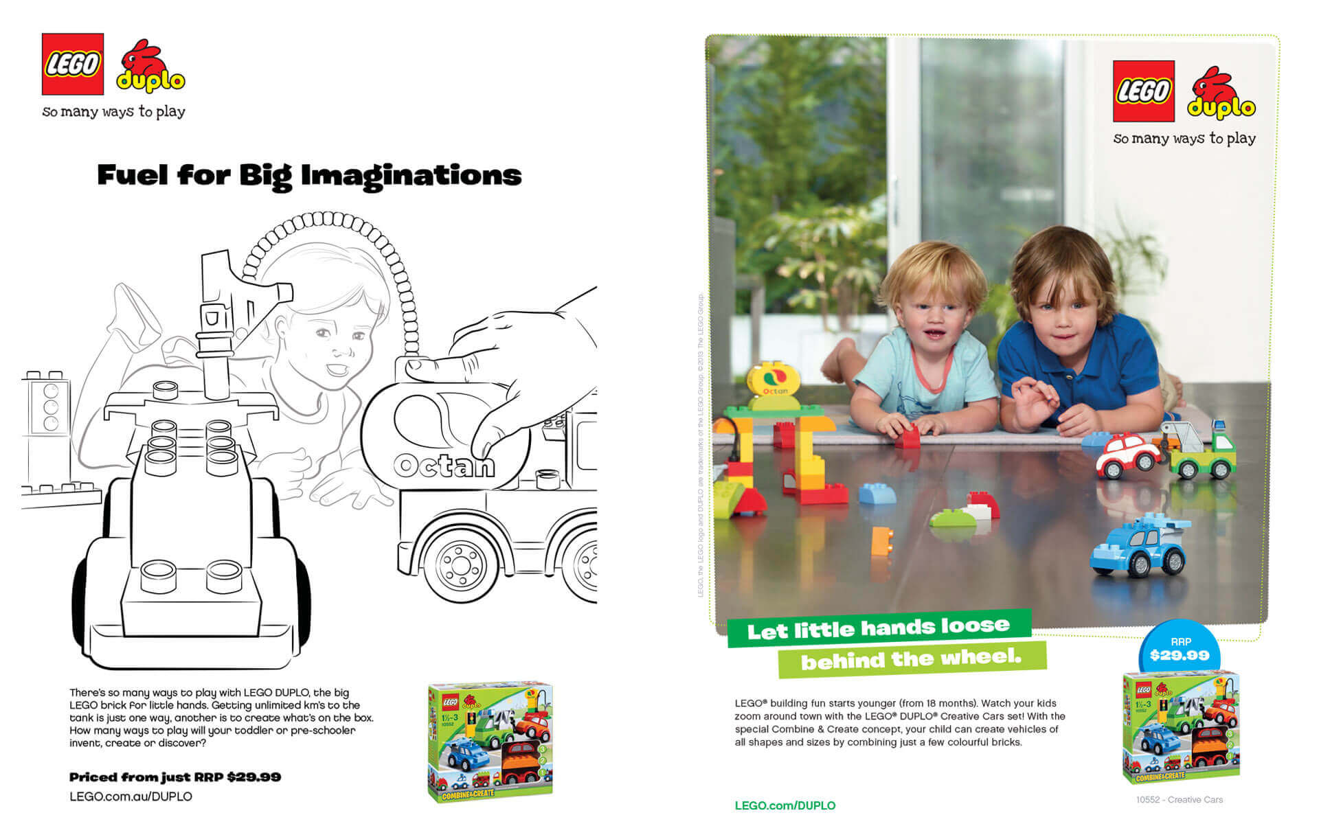 LEGO Duplo 'Let Little Hands Loose Behind the Wheel' magazine ad and scamp.