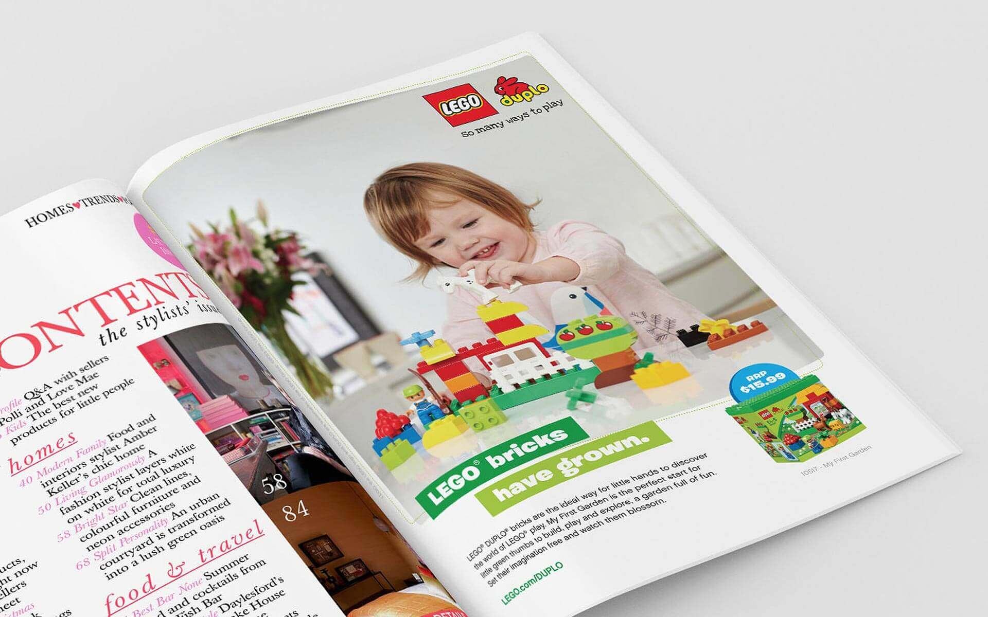 LEGO Duplo 'LEGO Bricks Have Grown' magazine ad.