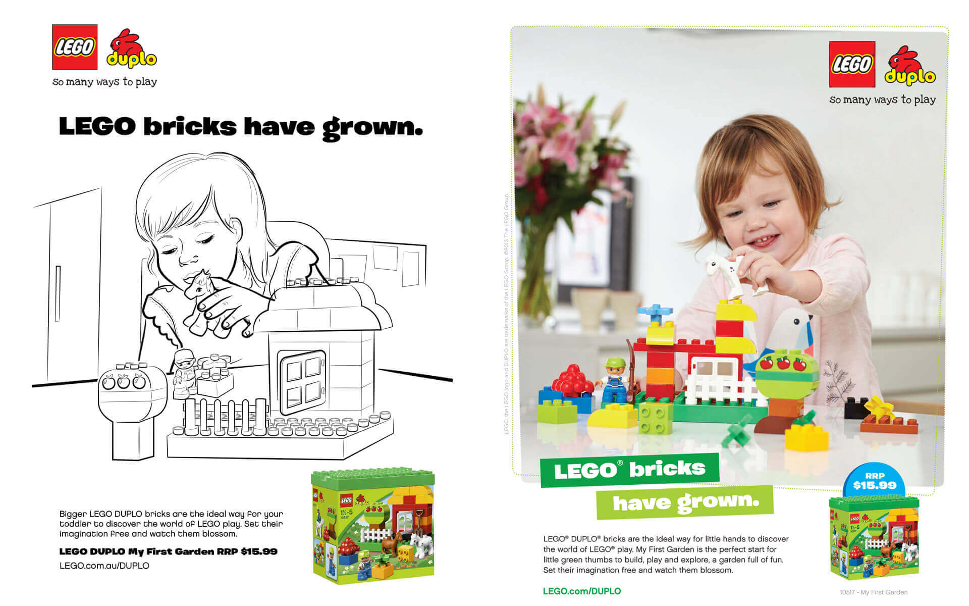 LEGO Duplo 'LEGO Bricks Have Grown' magazine ad and scamp.