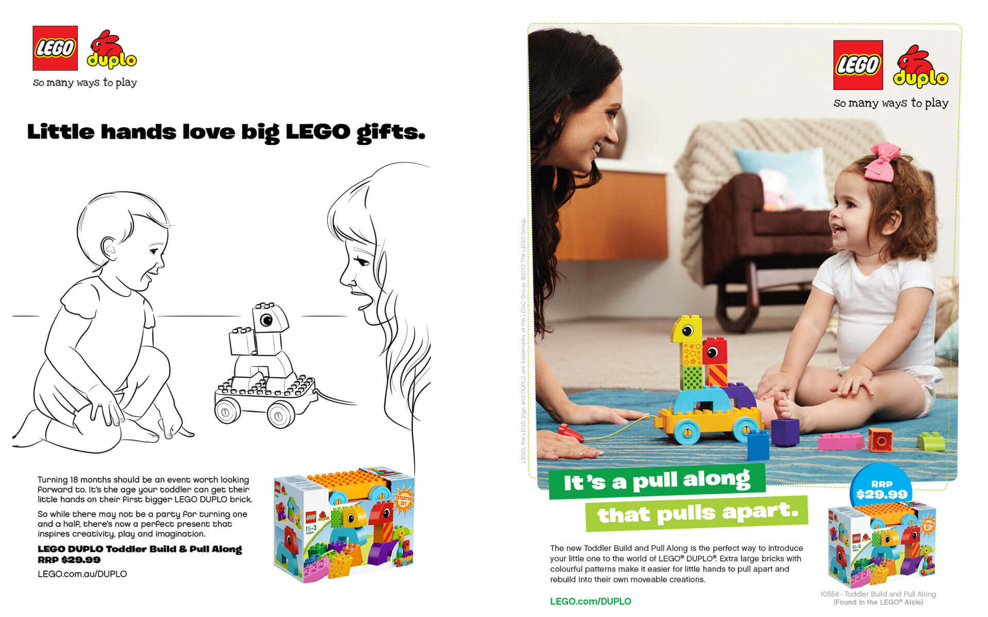LEGO Duplo 'It's a Pull-along that Pulls Apart' magazine ad and scamp.