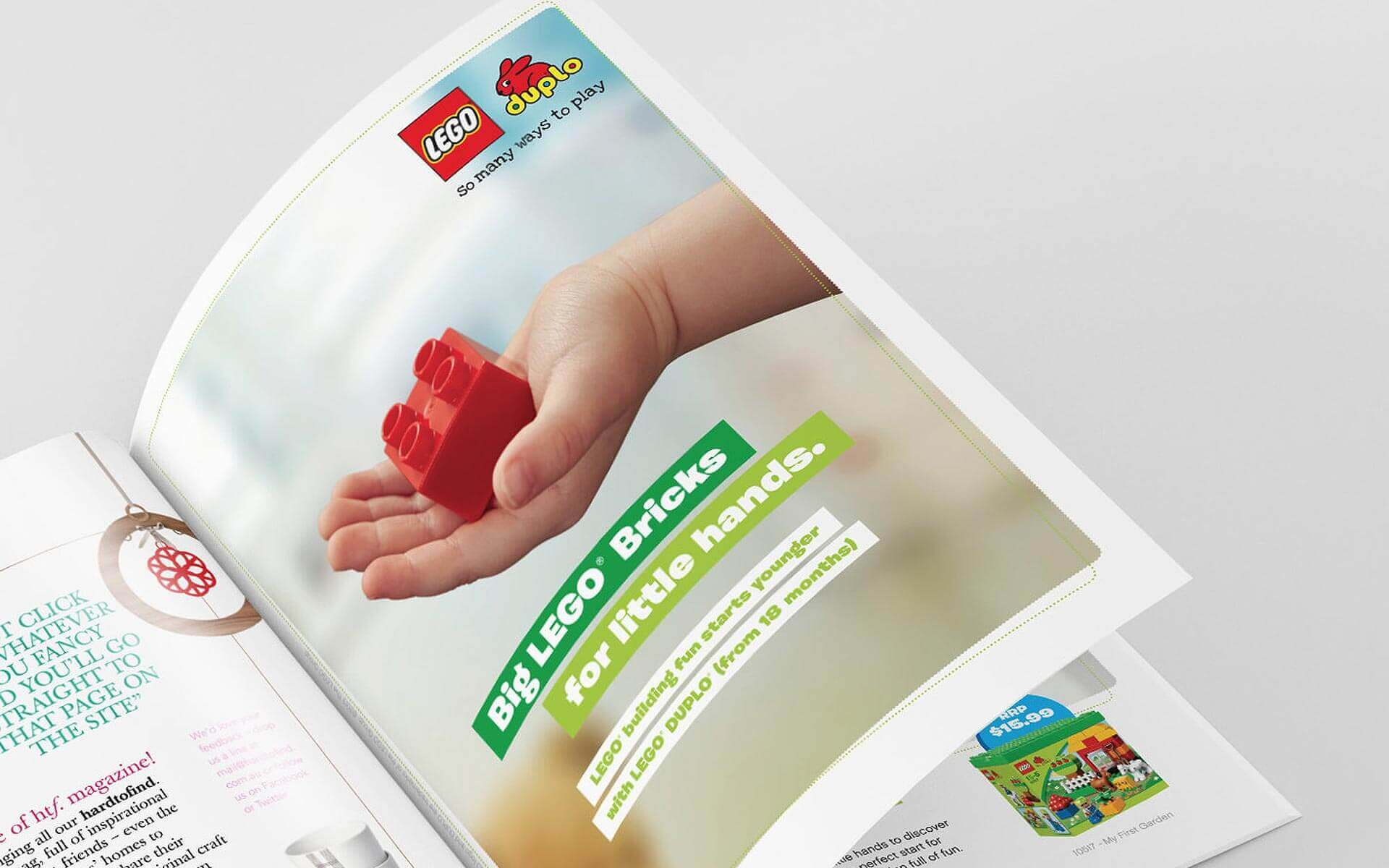 LEGO Duplo 'Big Bricks for Little Hands' magazine ad.