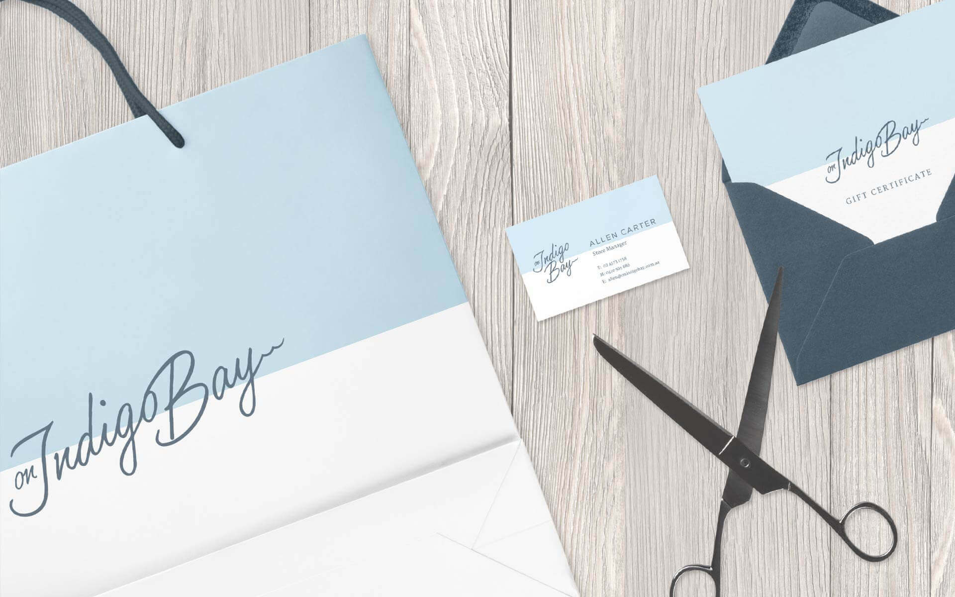 On Indigo bay bag and gift card design