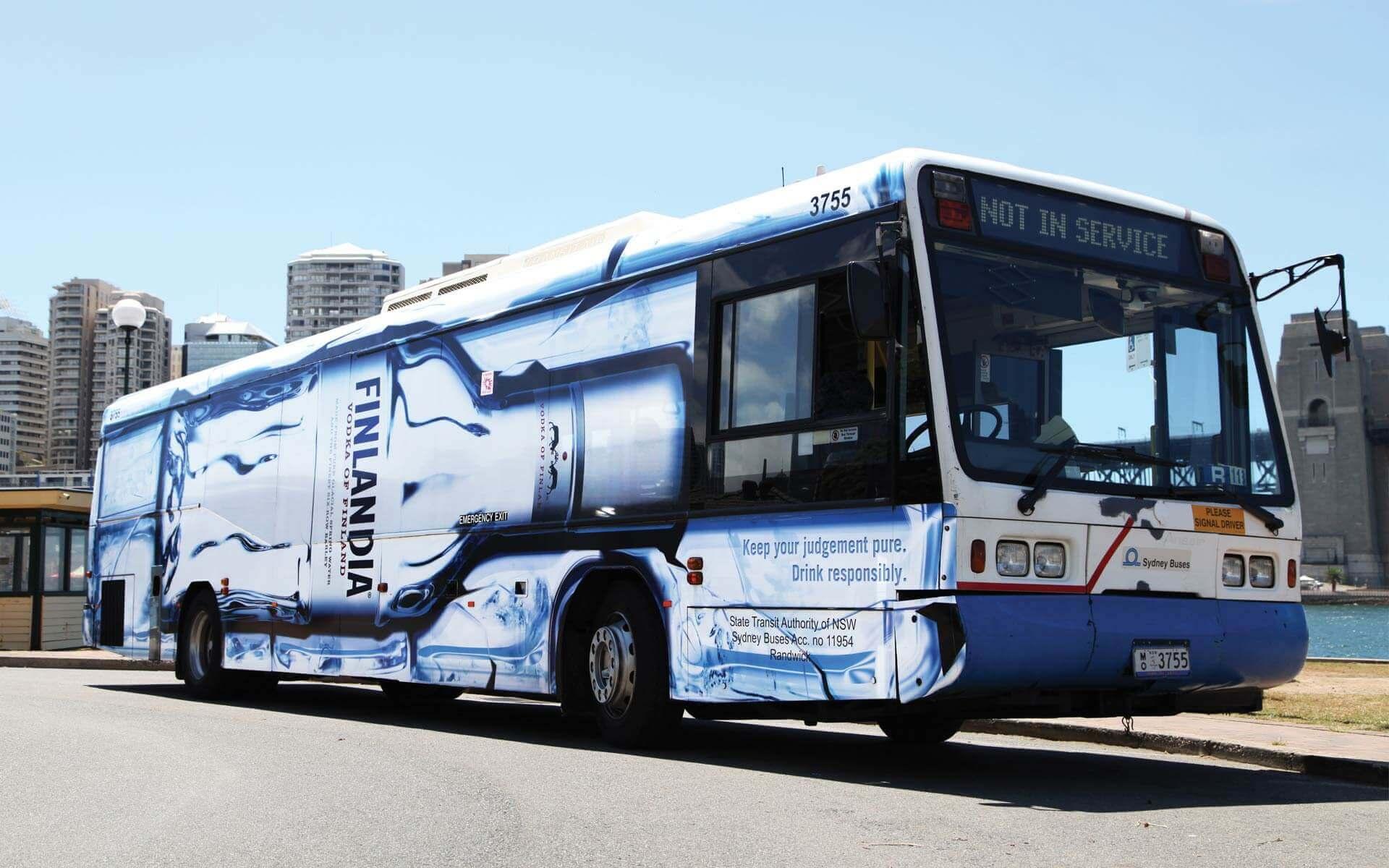 Finlandia bus wrap, side view