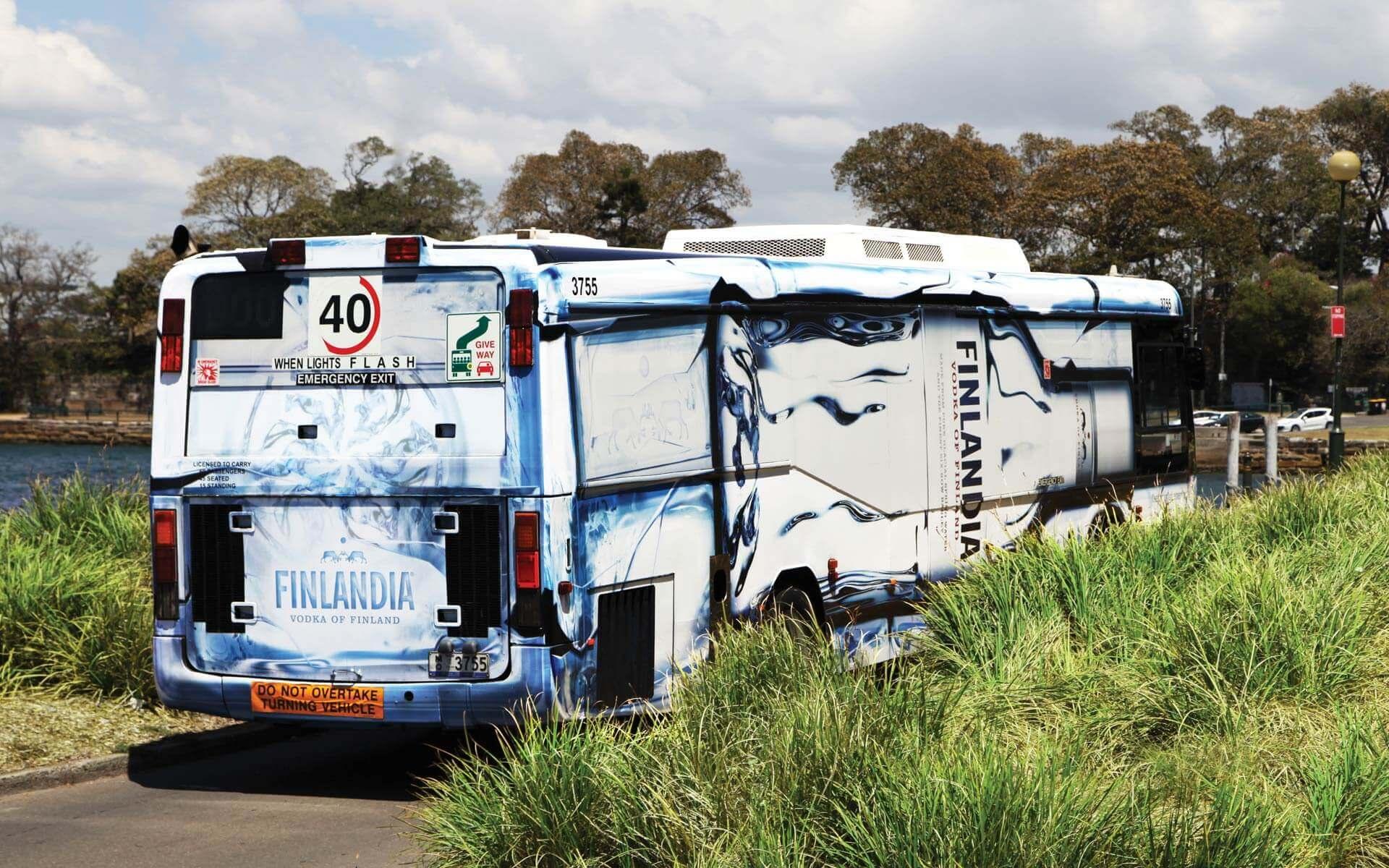 Finlandia bus wrap, back view.