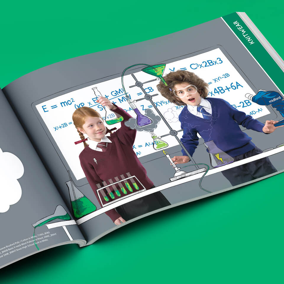 A colourful catalogue design for Australia's leading school uniform supplier, Midford
