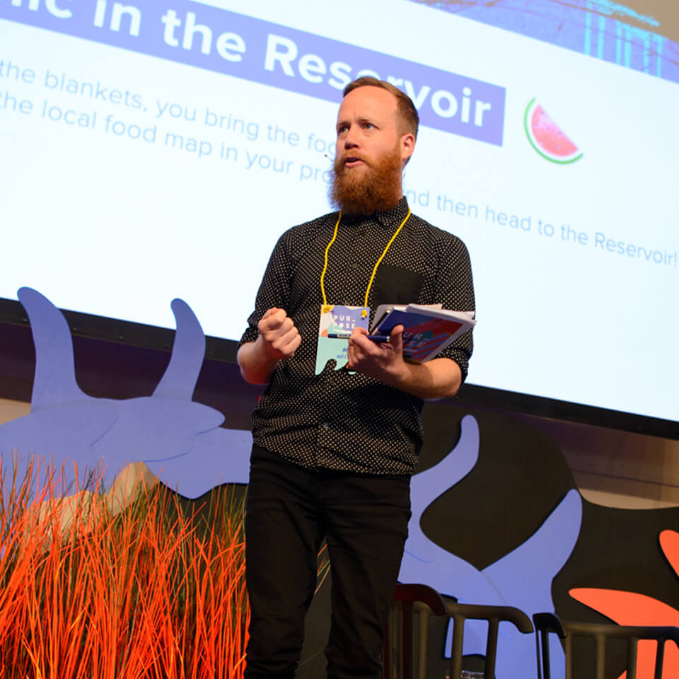 Matt Wicking addressing the crowd at Purpose 2016.