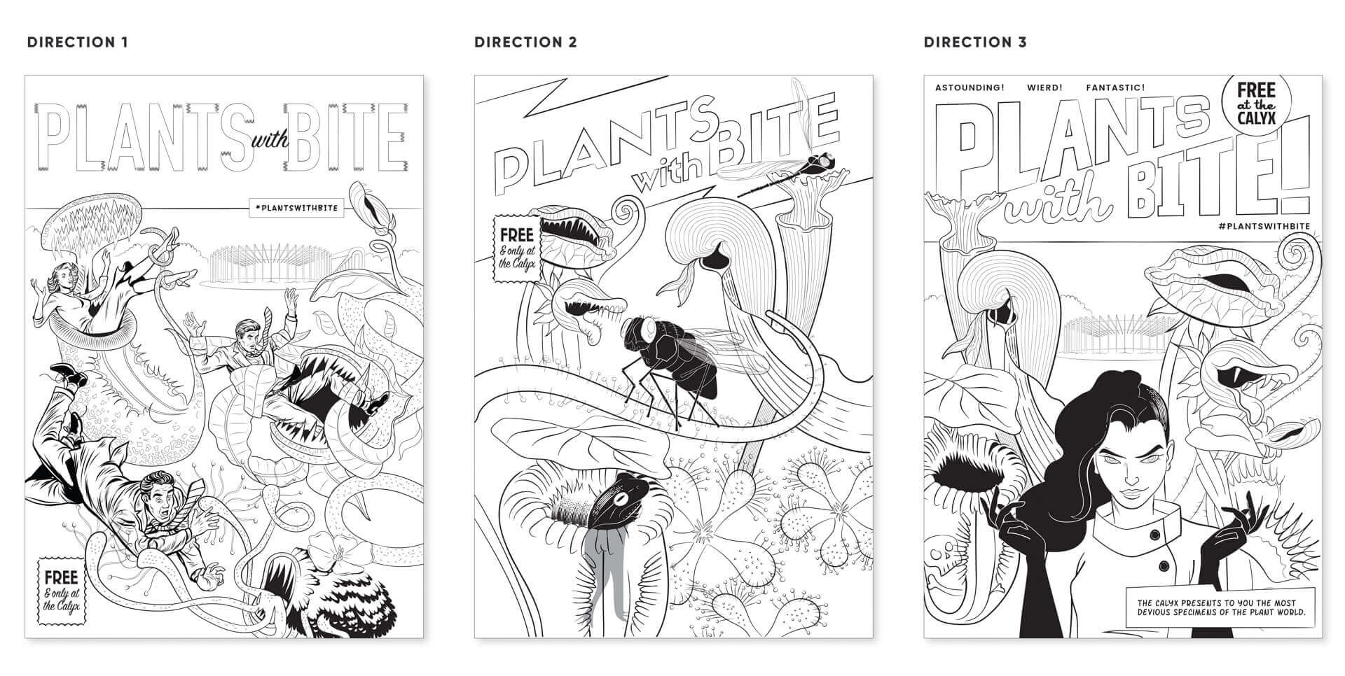 Initial concepts for Plants with Bite! branding.