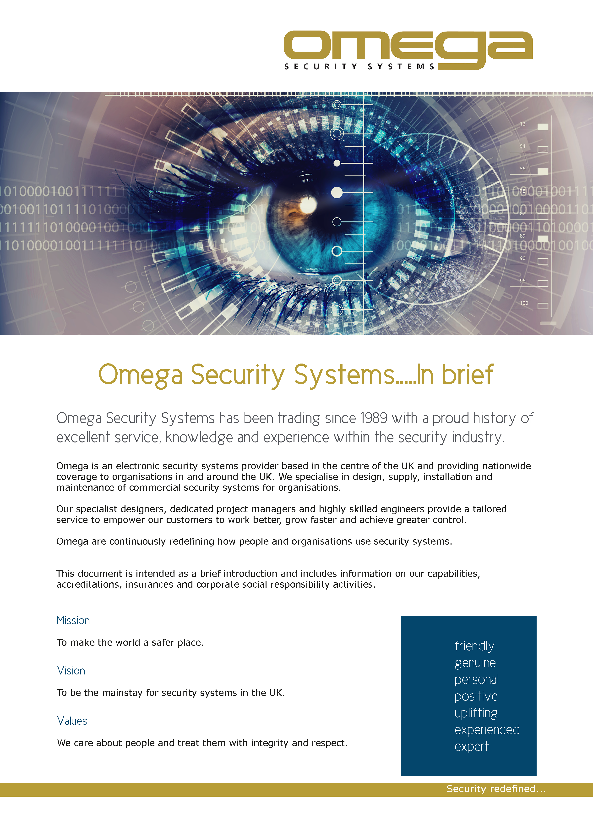 Omega Security Systems in brief document.