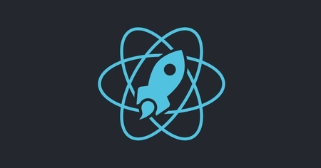 The image shows black background and in the middle there is blue rocket which is React.Sofia's logo.