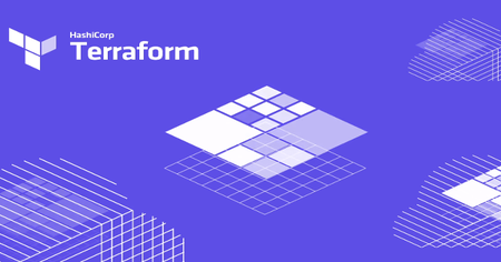 The image shows purple background with few graphics on squares and oval forms.In the bottom left corner is written Hashicorp and under it Terraform.