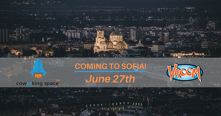 The image shows pictures of Alexander Nevski cathedral on which are placed the logos of Vroom and Puzl. In the middle of the picture it's written Coming to Sofia! June 27th