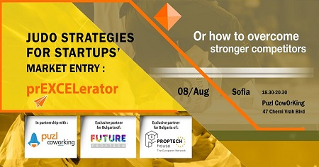 The image is a yellow background on which is written: Judo strategies for startups' Market entry: prEXCELerator or how to overcome stronger competitors. The event will be held on 8th August at 18:30 at Puzl Coworking.