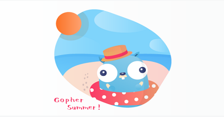 On the picture there is animated Gopher on a white background and it is written Gopher Summer!