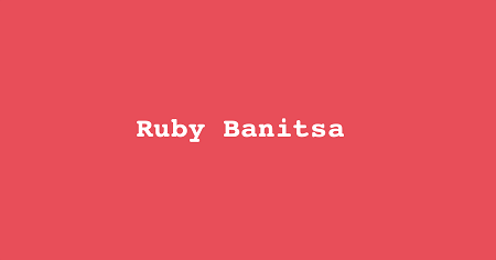 The image shows pink message on which is written Ruby Banitsa.