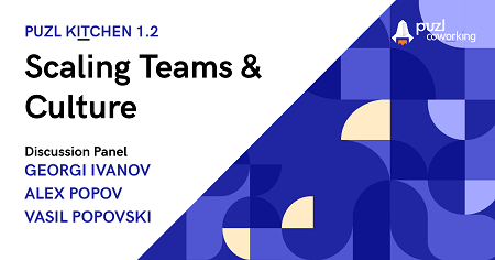 On the image is written Puzl kITchen 1.2: Scaling Teams & culture