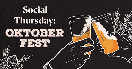 The event shows two beers and heading of the event: Social Thursday- Oktoberfest