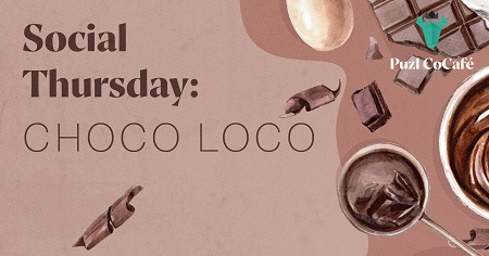 The image shows pieces of chokolade on which is written Social Thursday: Choco Loco.