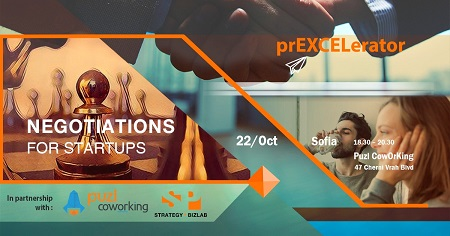 On the image is written the tittle of the next event of prEXCELerator: Negotiaons for startups.