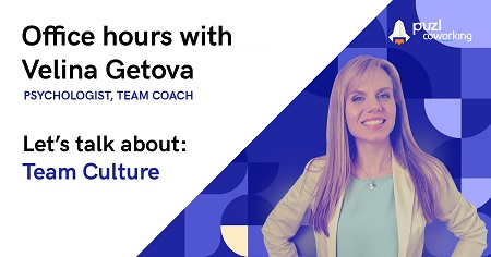 The image shows a picture of Velina Getova on the right side and the name of the event: Office hours with Velina Getova.
