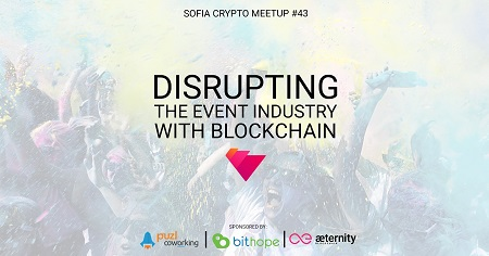 The image shows the tile of the event DIsrupting the event industry with Blockchain.