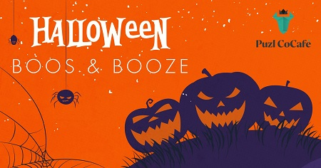 The image shows orange background on which is written Halloween Boos & Booze.