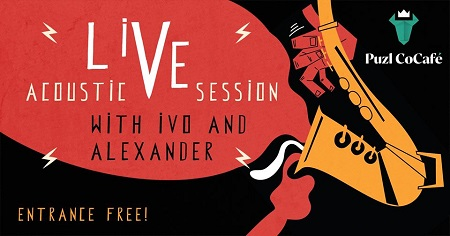 The image shows a saxophone and next to it is written Acoustic Live Session with Ivo and Alexander