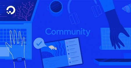 The image shows blue background on which is written community.