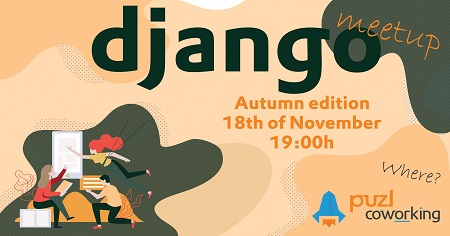 On the image is written django meetup which will be held at Puzl CowOrking.
