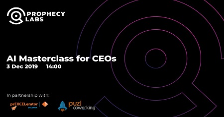 The image shows a black background on which is written AI Masterclass for CEOs.