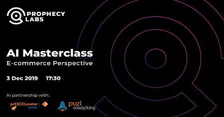 The image shows a black background on which is written AI Masterclass: E-commerce Perspective.