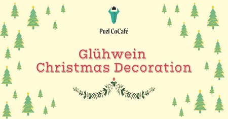 The image shows yellow background with Christmas trees on which is written Cluhwein Christmas Decoration.