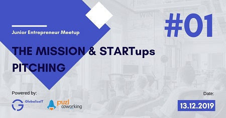The image shows gray background with purple elements on which is written The mission & Startups pitching.