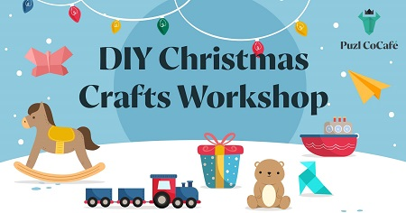 The image shows kids toys and the tittle of the event DIY Christmas Crafts Workshop.