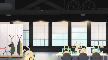 An image showing animated rabbits sitting in an office.