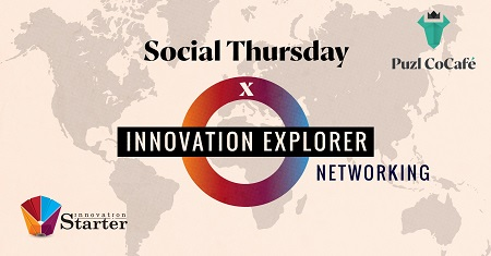 The image represents the world map with a sign Social Thursday x Innovation Explorer Networking