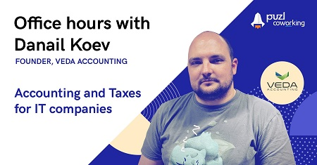 A photo of Daanil Koev with the topic of the office hours - Accounting & Taxes for IT companies