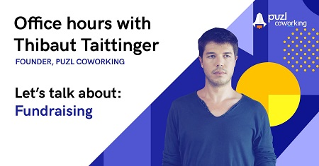 A photo of Thibaut Taittinger with the title of his office hours theme - Fundraising.