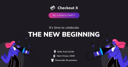 Black background with animated figures and Checkout X event info