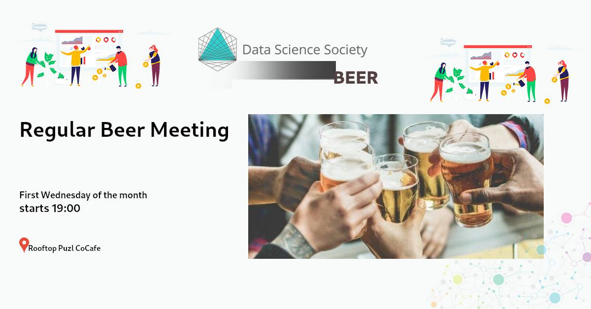 Cheering beers and Data Science Society Networking details.