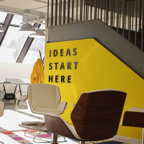 office with ideas start here on the wall
